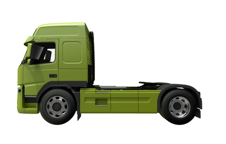 heavy: Euro Tractor Truck Side View 3D Render Illustration. Green Truck Side View.