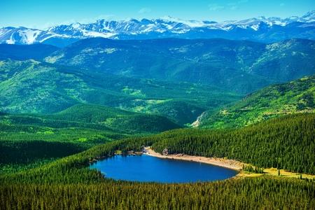 echo: Colorado Echo Lake and Mountains Landscape Panorama. Stock Photo