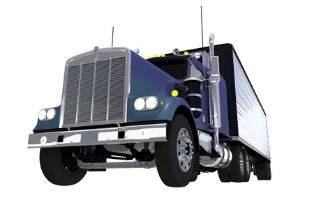 spedition: Aged Blue Truck Isolated Illustration on Solid White.