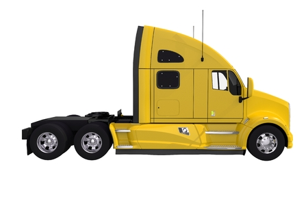 loaded: Yellow Tractor Truck Isolated on White. Modern Tractor Truck Vehicle. Stock Photo