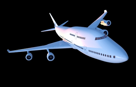 jet airplane: Jet Airplane Isolated on Black. Airplane 3D Illustration.