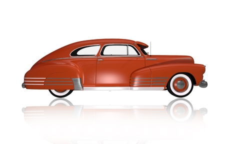 oldtimer: Classic Oldtimer Side View. Classic Car Illustration Isolated on White.