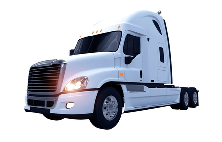 heavy duty: White Modern Semi Truck Isolated on White. 3D Truck Render. Stock Photo