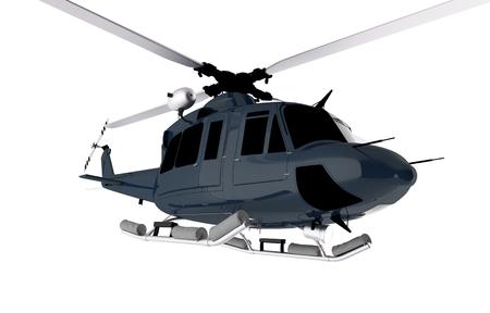 Dark Blue Chopper Isolated on White. Helicopter Illustration.