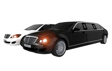 chauffeur: Limousines Rental Concept Illustration. Black Limousine and White Limousine Illustration.