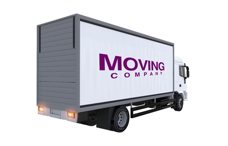 moving company: Moving Company Truck Illustration. Cargo Truck Rear View