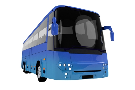 Modern Blue Tour Bus Illustration Isolated on Solid White Background. Blue Bus 3D Graphic.