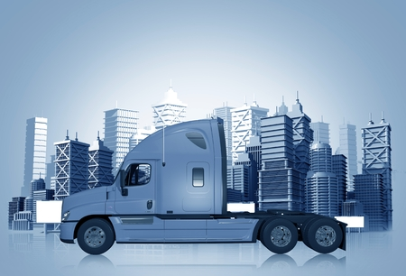 Truck and the City Skyline in Blue Color Tones. Trucking Concept Illustration. Stock Photo
