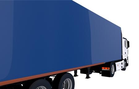 青いトレーラーのクローズ アップ。青いトレーラーと白いトラクター トラックのイラスト。