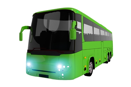 isolated: Green Coach Bus Isolated on White. Modern Coach Bus Illustration. Stock Photo