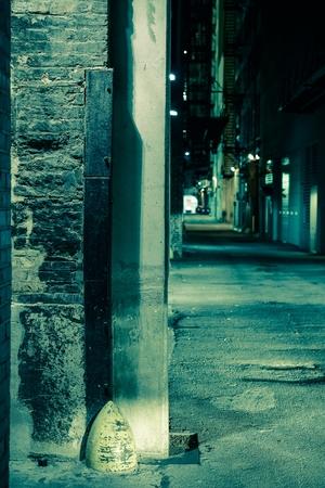 scary night: Dark Alley Corner. Chicago Alley at Night. Vertical Photo.