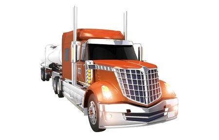 camión cisterna: Camión cisterna Camión aisladas sobre fondo blanco. Naranja carro semi con Remolque Cisterna Foto de archivo