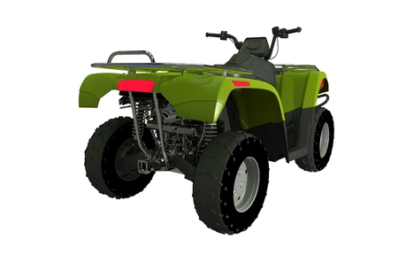 quad: Quad Bike ATV Rear View Illustration Isolated on White. 3D Render ATV Stock Photo