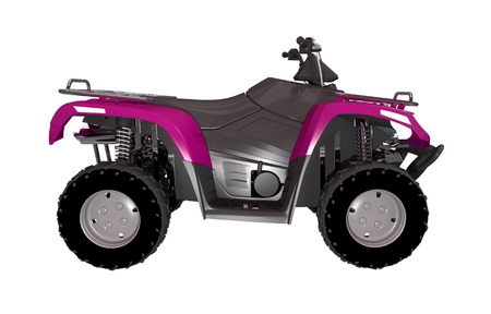 Pink ATV Bike Side View 3D Illustration Isolated on White.
