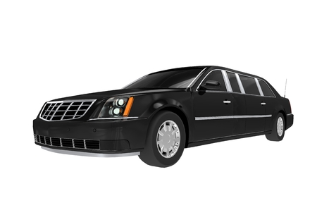 chauffeur: Black Limo Illustration Isolated on White. Stock Photo