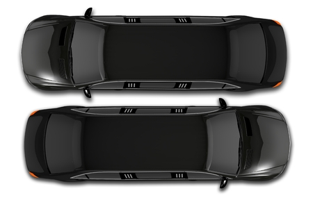 Black Limos Top View Illustration 3D. Isolated Top View Limousine.