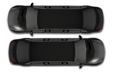 Zwarte Limos Top View Illustratie 3D. Geïsoleerde Bovenaanzicht Limousine.