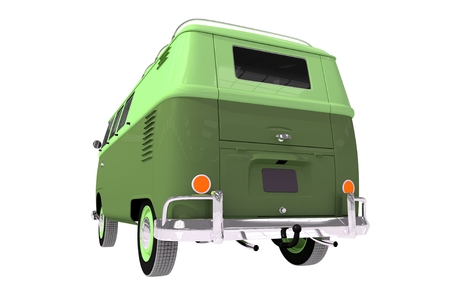 rear view: Aged Camper Rear View 3D illustration Isolation on White Background.