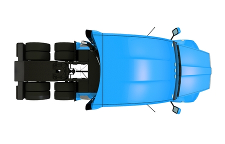 Top View Tractor Trailer Illustration Isolated. Stock Photo