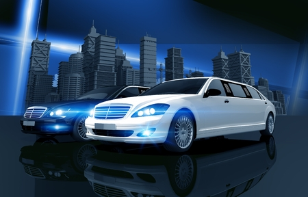 chauffeur: Two Prestigious Limos and City Skyline Concept Illustration. Two Limousines - Black and White.