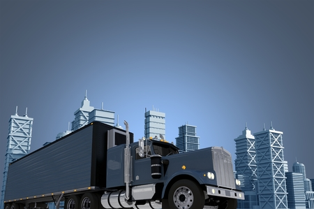 heavy duty: Urban Trucking Concept Illustration with Copy Space. Large Semi Truck with Trailer Making Delivery in the City. City Skyline 3D Illustration.
