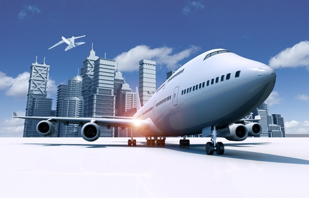 midair: Airport and City Skyline 3D Travel Concept Illustration. Second Airliner in Midair. Stock Photo