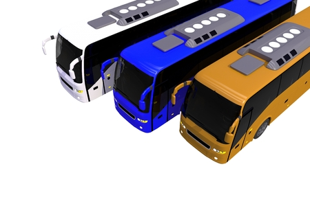 Three Colorful Buses on White. 3D Buses Illustration. Фото со стока