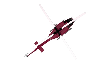 Top View Red Helicopter Isolated. 3D Illustration of a Chopper.