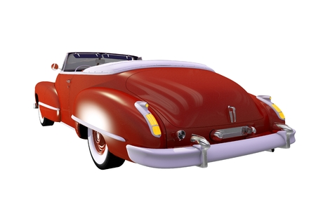 cabrio: Reddish Classic Car Cabriolet Isolated. Convertible Oldtimer Illustration.