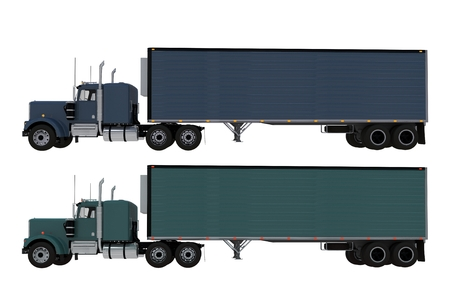 convoy: Two Trucks Side View Isolated on Solid White Background. Dark Blue and Dark Green Truck Stock Photo