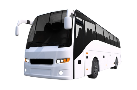White Tour Bus Isolated on Solid White Background. Bus Illustration. 版權商用圖片