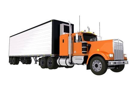 trucking: Trucking Industry. Large Orange Truck with White Trailer Isolated on White. Stock Photo