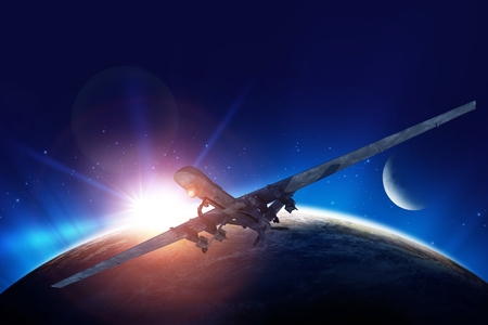 spying: Dron Mission Conceptual Illustration. Planet Earth Sunrise and the Moon in the Background.