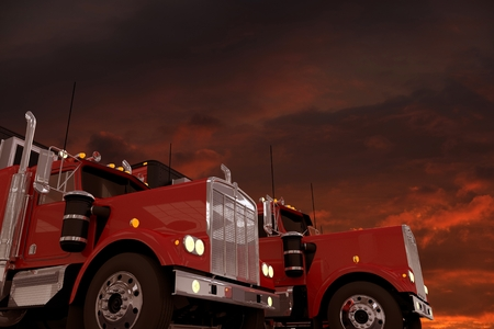 trucking: Semi Trucks and Red Stormy Sky 3D Illustration. Trucks and Copy Space Background. Trucking and Logistics Concept.