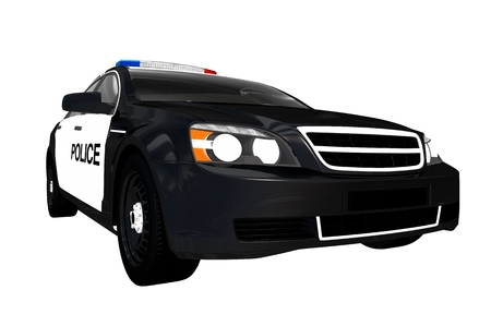 light duty: Front View Police Car. Black and White Body Modern Police Cruiser Illustration. Stock Photo