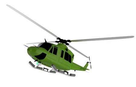 Green Helicopter Graphic. Helicopter Isolated on White. Stock Photo