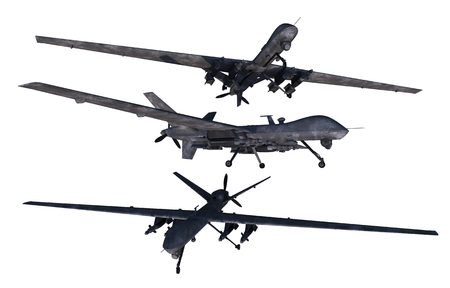 unmanned: Unmanned Military Drones Isolated on Solid White Background. Military Technology.