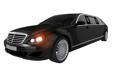 Black Stretch Limousine Illustration Isolated on White Background. Stock Photo