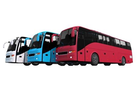 分離されたバス艦隊。駐車場で 3 種類のカラフルなバス。3 D は、白で隔離。
