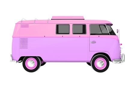 pinky: Pinky Vintage Camper Isolated on White. Vintage Camper Illustration 3D