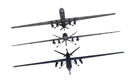 無人偵察機のイラスト。軍事用無人機白で隔離。3 つから選択します。