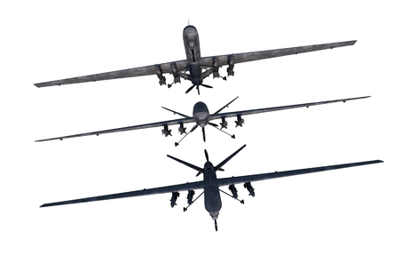 Drones Illustration. Military Drones Isolated on White. Three to Choose From.