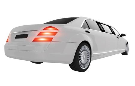 Elegant White Wedding Limo. Wedding Limousine Rear View Isolated on White.