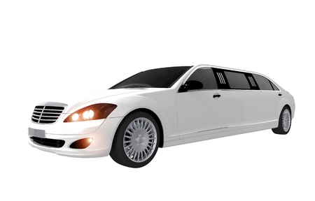 limo: White Modern Limousine Isolated on White Background. Elegant Limo Stock Photo