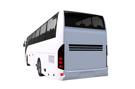 Tour Bus Rear View Illustration. 3D Render of White Tour Bus.