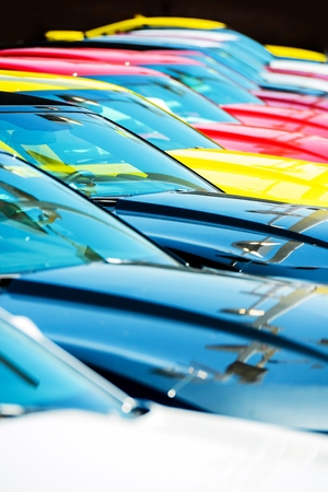 new car lot: New Vehicles Stock. Colorful Cars Row. Cars Market.