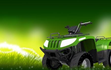 quad: Green 4x4 ATV on Mysterious Grassland with Copy Space. Quad Bike Backdrop. Stock Photo