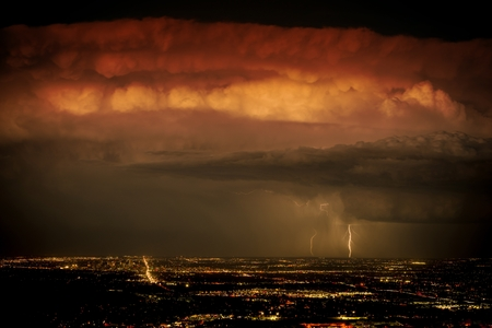 city of denver: Heavy Night Storm Above the City. Denver Metro Area, Colorado, United States. Stock Photo