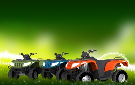 four wheel drive: ATV Quads on the Meadow. Three Quad Bikes Illustration with Copy Space.
