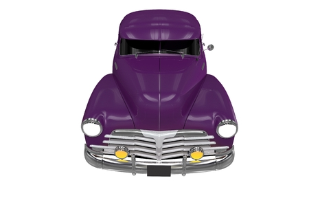 oldtimer: Violet Classic Car Front View Isolated on White. Collectible Oldtimer Illustration.